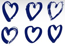 Hand drawn hearts set. Love symbol with dry brush painting, isolated. Hand drawn hearts set. Love symbol with dry brush painting. Grunge vector brush strokes Royalty Free Stock Photography