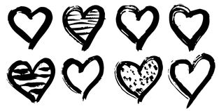 Hand drawn hearts set. Love symbol with dry brush painting, isolated. Hand drawn hearts set. Love symbol with dry brush painting. Grunge vector brush strokes Stock Images