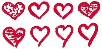 Hand drawn hearts set. Love symbol with dry brush painting, isolated. Hand drawn hearts set. Love symbol with dry brush painting. Grunge vector brush strokes Stock Photo