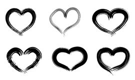 Hand drawn hearts set. Love symbol with dry brush painting, isolated. Hand drawn hearts set. Love symbol with dry brush painting. Grunge vector brush strokes Royalty Free Stock Image