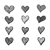 Hand drawn hearts set for Valentines Day isolated on the background. Royalty Free Stock Photos