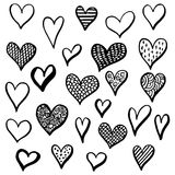 Hand drawn hearts set for Valentines Day isolated on the background. Stock Photos
