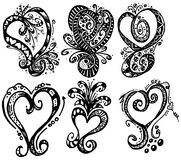 Hand Drawn Hearts. Six hand drawn hearts turned into vector objects Royalty Free Stock Photos