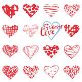 Hand drawn hearts symbols and lettering for Valentines day. Sketched doodle elements for wedding invitations, scrapbook, cards, po Stock Photography