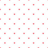 Hand-drawn hearts symmetric seamless pattern. Dark pink on white background. Nice and simple Stock Photo