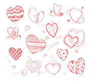 Hand drawn hearts vector doodle icons for wedding cards Royalty Free Stock Photo