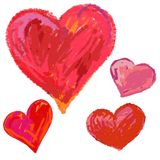 Hand drawn hearts. Stock Images