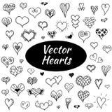 Hand drawn hearts. Hand drawn vector hearts set. St. Valentine day illustration Stock Photo