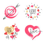 Hand Drawn Hearts on White Background. Royalty Free Stock Photos