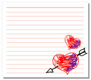 Hand drawn hearts on white note paper. Illustration of hand drawn hearts on white note paper Stock Photos