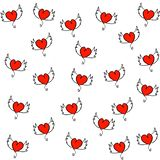 Hand drawn hearts with wings seamless pattern stock illustration