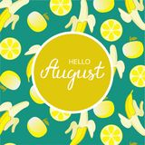 Hand drawn Hello August typography lettering poster in yellow circle vector illustration