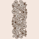 Hand-Drawn Henna Mehndi Abstract Mandala Flowers and Paisley Doodle Royalty Free Stock Photo