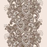 Hand-Drawn Henna Mehndi Abstract Mandala Flowers and Paisley Doodle Royalty Free Stock Photography