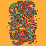 Hand-Drawn Henna Mehndi Abstract Mandala Flowers and Paisley Doodle Stock Images