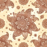 Hand drawn henna tattoo flowers vector seamless pattern Royalty Free Stock Photography