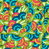 Hand drawn herbal and circles colored seamless pattern stock illustration