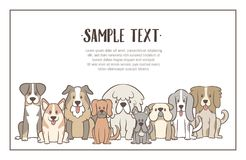 Hand drawn herd of dogs background. Herd of dogs with sample text. Hand drawn illustration background. Sat dogs in front view position. Vector illustration royalty free illustration