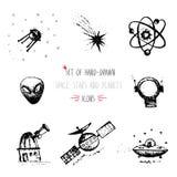 Hand-drawn het pictogramreeks van de schetsplaneet Royalty-vrije Stock Foto's