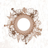 Hand drawn hibiscus flowers retro frame. All objects are conveniently grouped  and are easily editable Stock Photography
