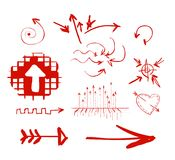 Hand drawn highlighter elements. Vector arrows. On white background royalty free illustration
