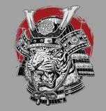 Hand Drawn Highly Detailed Japanese Tiger Samurai Vector Illustration On Grey Ground Royalty Free Stock Image
