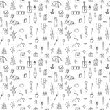Hand drawn hike seamless pattern. Doodle camping elements. Picni Royalty Free Stock Images