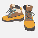 Hand drawn hiking boots vector sketch  Stock Photo