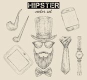 Hand drawn hipster accessories set Royalty Free Stock Photos