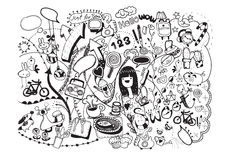 Hand drawn Hipster Doodle Home Royalty Free Stock Photography