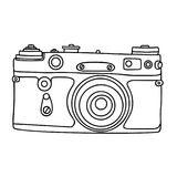 Hand drawn hipster old photo camera. Vintage camera icon. Simple vector illustration. Stock Image