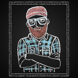 Hand drawn hipster portrait. Stock Images