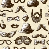 Hand Drawn Hipster Seamless Background Royalty Free Stock Photos