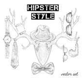 Hand drawn hipster style accessory set Stock Photos