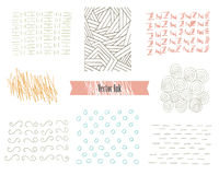 Hand Drawn Hipster Textures Made with Ink. Retro Patterns for Posters, Flyers and Banner Designs. Vector Brushes Decor. Hand Drawn Hipster Textures Made with Ink stock illustration