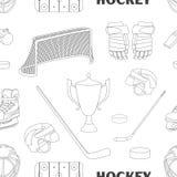 Hand drawn hockey icons pattern Stock Photography
