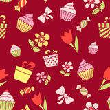 Hand drawn holiday items, seamless pattern background. Vector il Stock Photos