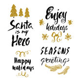 Hand drawn holiday lettering. Christmas collection of unique lettering for greeting cards, stationary, gift tags, scrapbooking. Royalty Free Stock Image