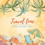 Hand drawn holiday travel card Royalty Free Stock Photography