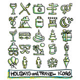 25 hand drawn holidays and travel icons. Collection. Vector format Royalty Free Stock Image