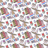 Hand drawn Holland seamless pattern with windmill and house. Netherlands background for design. Vector illustration. Stock Photo