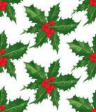 Holly berry Christmas seamless pattern. Hand drawn holly berry Christmas seamless pattern Royalty Free Stock Images