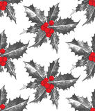 Holly berry Christmas seamless pattern. Hand drawn holly berry Christmas seamless pattern Royalty Free Stock Photos