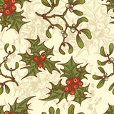 Hand drawn  holly twigs and mistletoe seamless pattern Stock Photos