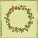Hand drawn  holly twigs vector wreath Royalty Free Stock Photos