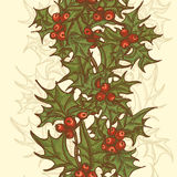 Hand drawn  holly twigs  vertical seamless border Royalty Free Stock Image
