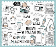 Hand drawn home appliance set Stock Photos