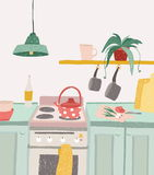 Hand drawn home cooking in cartoon style. Colorful doodle kitchen interior with kitchenware, kettle, oven, stove. Utensils. Vector illustration Stock Images