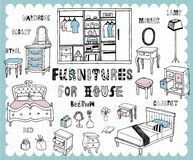 Hand drawn home furnishing set-Bedroom Stock Images
