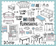Hand drawn home furnishing set-Dining room and Living room Royalty Free Stock Images